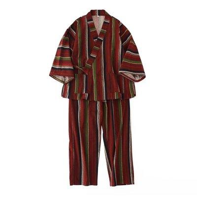 2019新款秋冬女士睡衣日式和服條紋情侶大碼磨毛睡衣男女和風浴衣長袖套裝 ?卡米?