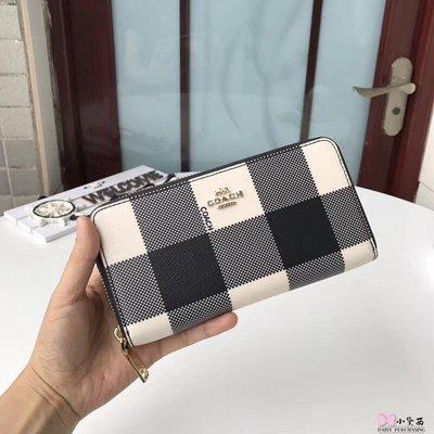 【小黛西歐美代購】COACH 54757 新款女士真皮格子長款錢包皮夾手拿包 時尚精品  美國連線代購