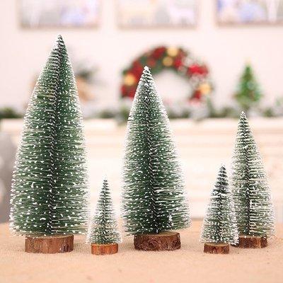 聖誕樹擺件聖誕裝飾品擺件迷你實木松針聖誕樹植絨雪松樹桌面擺件