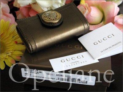 Gucci LEATHER KEY CASE 皇家徽章裝飾真皮鑰匙包鎖包SALE 優惠特價免運費 愛Coach包包
