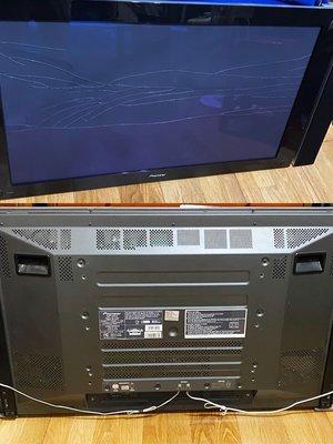 先鋒 43吋 電漿電視 Pioneer PDP-435PG 王者電漿 日本製 面板玻璃破裂, 無法通電需維修處理,零件機。