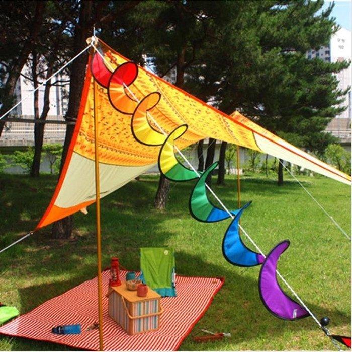 現貨*LUCY 日韓生活館*露營 戶外 七彩風條 旋轉風條 彩虹 裝飾 風條 彩條 風車 彩帶