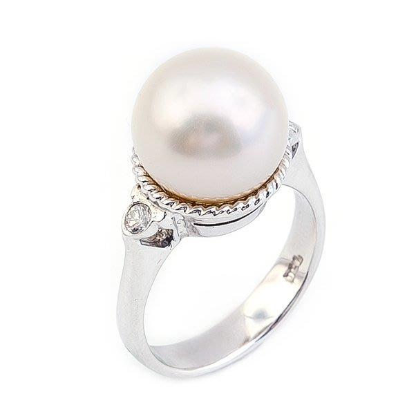 【JHT金宏總珠寶/GIA鑽石專賣】11.5mm天然珍珠鑽戒/材質:14K(PP00027)