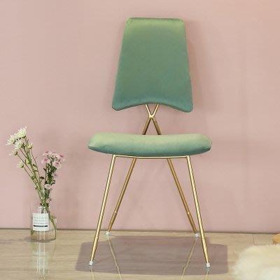 化妝單人椅子鐵藝餐廳北歐現代休閑美甲靠背椅梳妝臺椅  AB2284