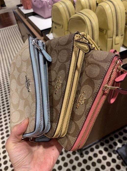 JJ美國代購~COACH 87591 小款 雙拉鍊 雙層 零錢包 手拿包 附收據  87590 52896