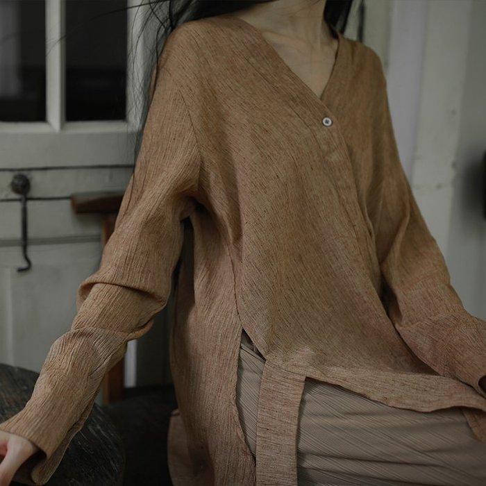 *菇涼家*春夏棉麻斜襟肌理感随性復古改良飘带襯衫上衣