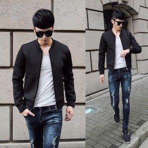 yes99buy加盟-2014秋裝새로운 男式韓味流行帥氣簡潔時尚短款夾克 男式百搭外套