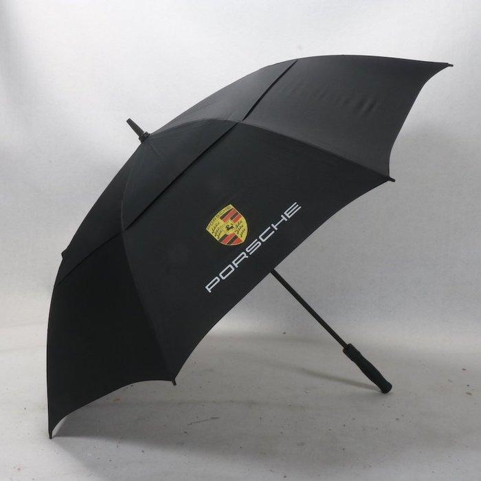 奇奇店-傘下130cm直徑保時捷大標雙層防風纖維傘骨高爾夫汽車男士雨傘#加固 #小清新 #晴雨兩用