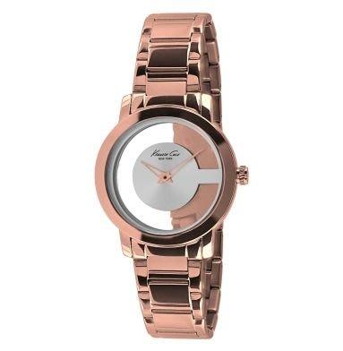 破盤清倉大降價!全新 Kenneth Cole 玫瑰金色透明環錶面造型女錶,低價起標無底價!本商品免運費!