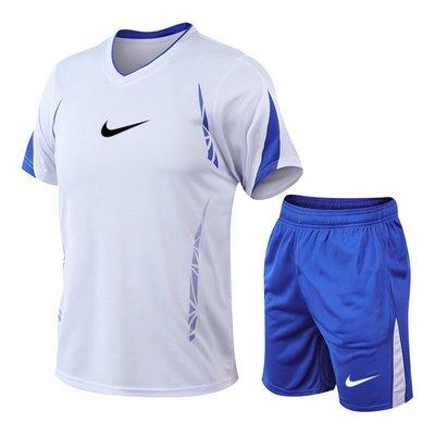 nike 耐吉運動套裝 夏季短袖套裝 男士大尺碼寬鬆運動套裝 V領 戶外健身訓練服  速乾運動2件套