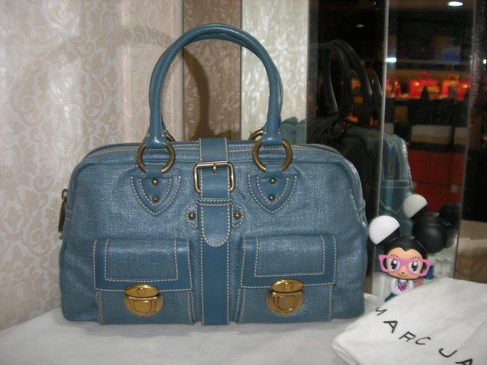典精品名店 Marc Jacobs 藍色 雙口袋 拉鏈 手提包  現貨
