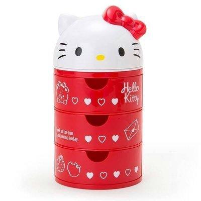 花見雜貨~  kitty凱蒂貓立體 三層圓形置物盒三抽屜最上面掀蓋式零錢文具小物收納飾品盒