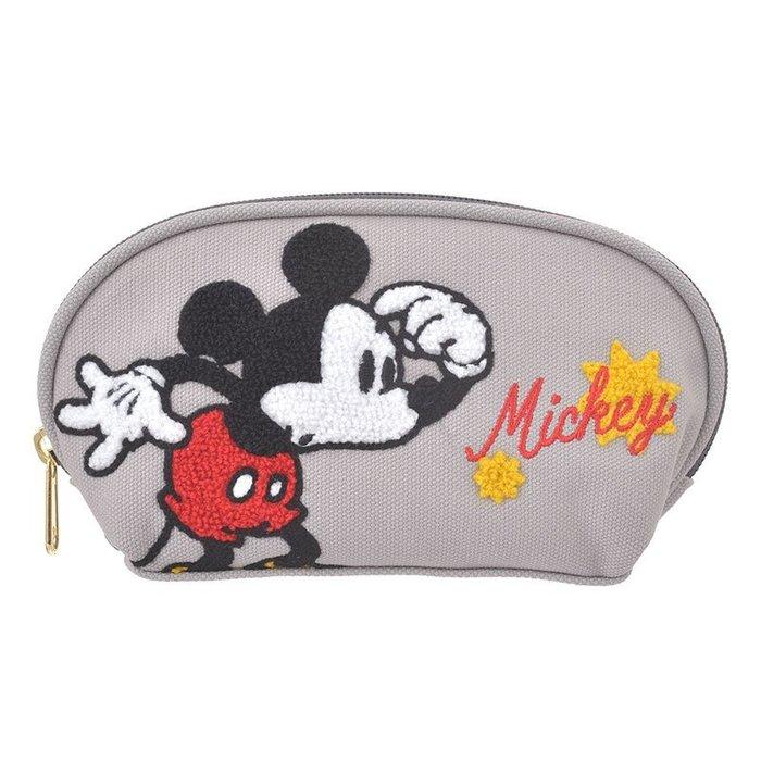 迪士尼Disney《現貨8折》米奇 拉鍊式全開 刺繡化妝包/小物包~日本正品~心心小舖