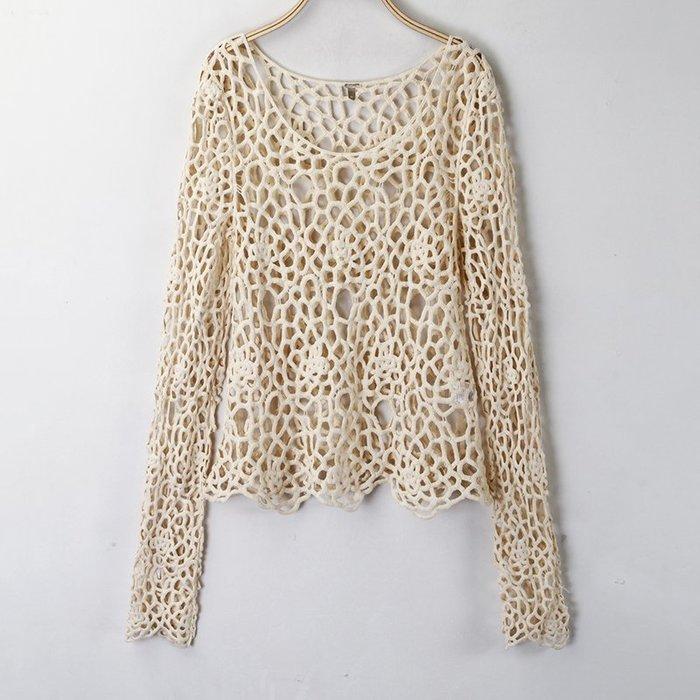 [C.M.平價精品館]M現貨出清特價/率性有型百搭舒適杏色縷空外罩上衣