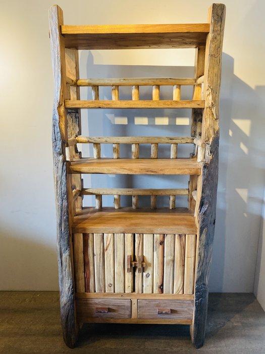 ㊣大匠之風㊣創意原木多功能書櫃/儲物櫃*另有實木原木紅木傢俱*