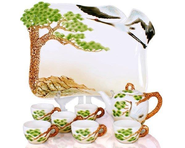 功夫茶具 松鶴延年 陶瓷茶具套裝 結婚禮品  茶盤 茶壺 茶杯