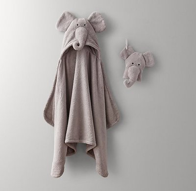 【可美童裝】預購~美國RH baby & child正品《可愛動物純棉舒適連帽大毛巾/海灘巾/包巾,大象》