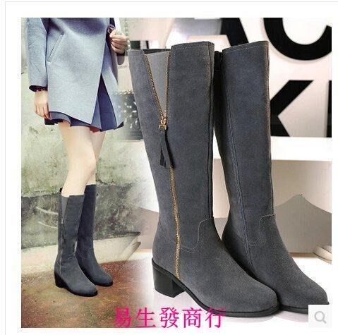 【易生發商行】磨砂全牛皮女靴子 秋冬歐美高跟長靴粗跟高筒靴女圓頭騎士靴F6301