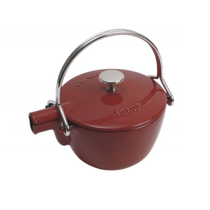 法國 Staub 16.5公分 圓形茶壺 櫻桃紅/石墨灰/石榴色/寶石藍/黑色