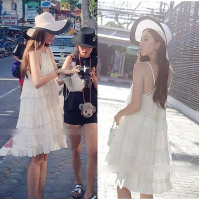 【Strawberry】海南三亞海邊度假沙灘裙大碼寬松白色仙女吊帶雪紡連衣裙夏女
