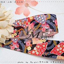 My girl╭* DIY材料˙絲帶包裝髮飾彩繪日式細工花卉*25mm寬 羅紋 - 日式和風花色扇子緞帶 ZD0696*