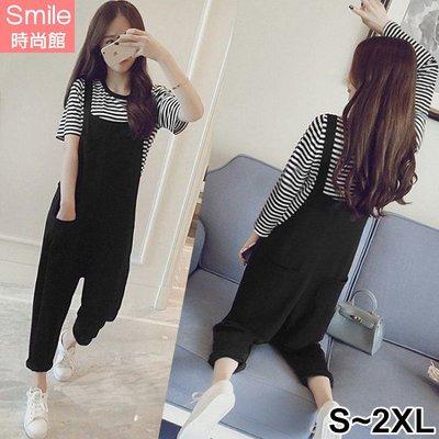 【V3114】SMILE-簡約風格.條紋短袖上衣吊帶褲兩件式套裝