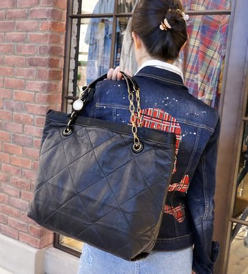 Lanvin Amalia Cabas Quilted Lambskin Bag 大型小羊皮皮鍊帶肩背 黑 現貨