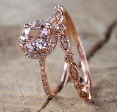 18K鍍金 玫瑰金 仿鑽戒指 套裝 女朋友 生日禮物