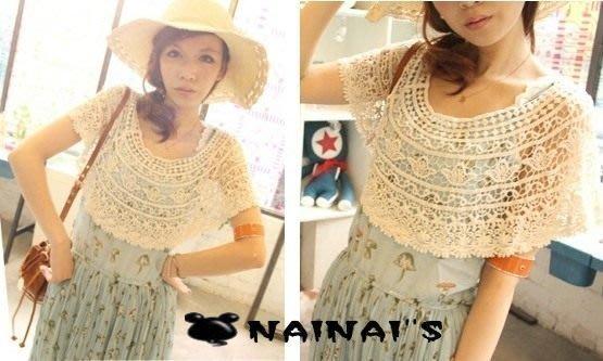 【NAINAIS】Style‧4119 VIVI 日系 唯美鏤空鉤花蕾絲短版罩衫披肩斗篷 米 現+預