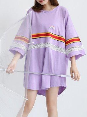 正韓 上衣 衣服 衣著短袖t恤女鏤空蕾...