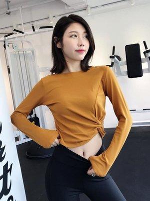 健身服女長袖速干運動衣秋季跑步T恤網紅露臍性感緊身瑜伽服上衣