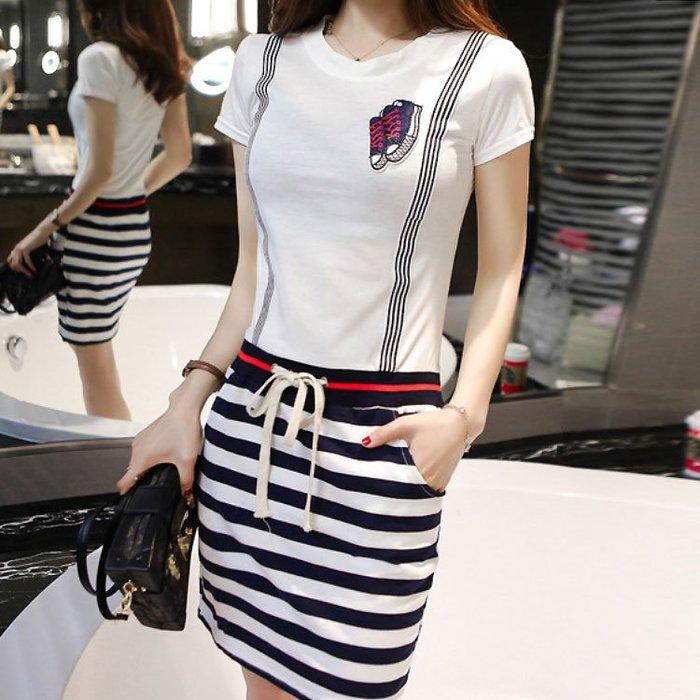 [C.M.平價精品館]S~2XL/帥氣有型吊帶假兩件舒適棉質短袖洋裝