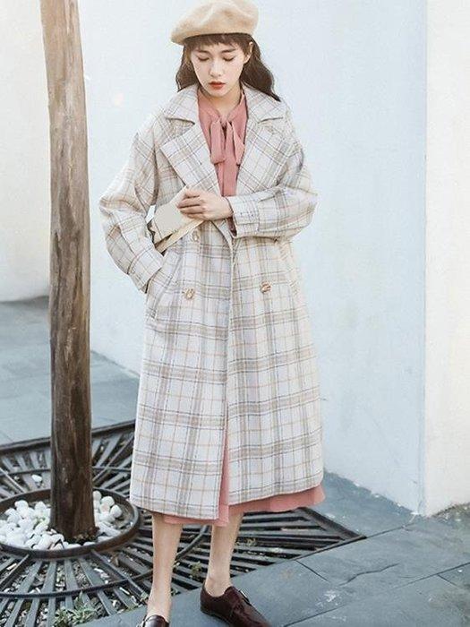 外套 女 小個子呢子外套女秋裝新款小清新西裝領格子過膝長款呢子大衣