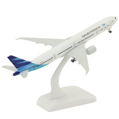 ☆☆☆實心合金飛機模型波音B777-300er印尼加魯達航空客機禮品擺件帶輪飛機丨模型丨仿真丨玩具-DDM