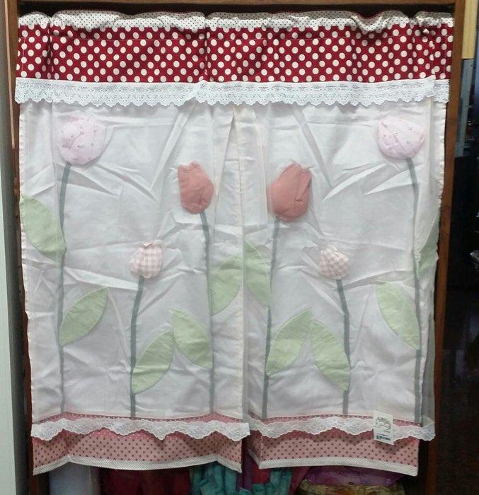 美生活館--全新鄉村風格拼布 粉紅點點立體鬱金香布蕾絲  中門簾/裝飾簾/櫃簾/窗簾 90*90 cm