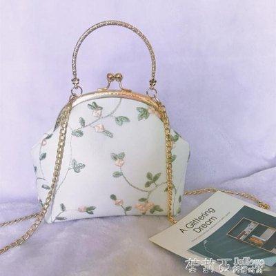 復古蕾絲口金包布藝手工立體刺繡花朵手提包配旗袍包包女士小包包