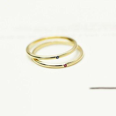 球大大韓國專賣~GeunYeon瑾妍細款寶石純14K黃金彩金女戒指指環