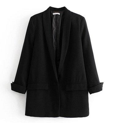 【An Ju Shop】外單 歐美西班牙風 春 時尚OL氣質一粒扣捲邊袖中長款西服外套~S5B117524