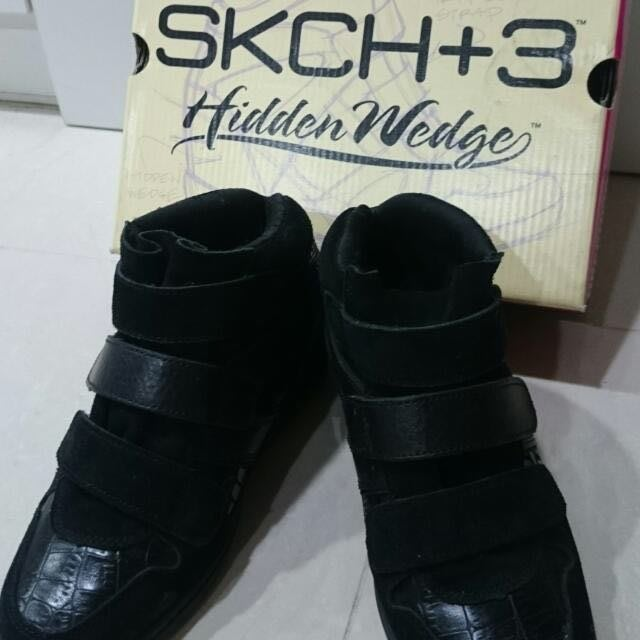 skechers 黑色內增高鞋 運動鞋