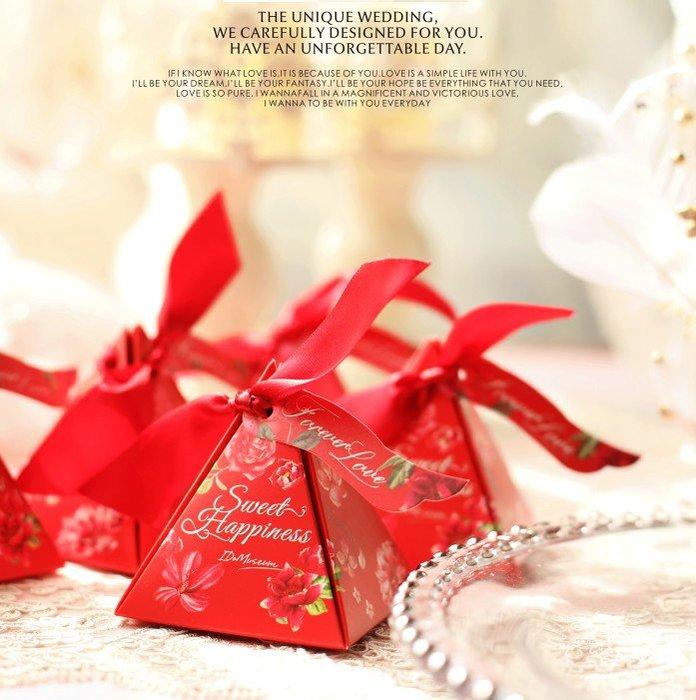 喜糖盒回禮盒 歐式結婚喜糖 包裝紙盒子個性婚禮喜糖盒創意金字塔盒(300個)_☆找好物FINDGOODS☆