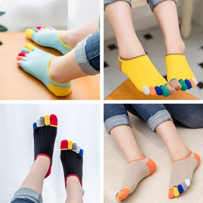 夏季隱形純淺口棉可愛五指襪女薄女短襪船襪五趾襪無幫彩指