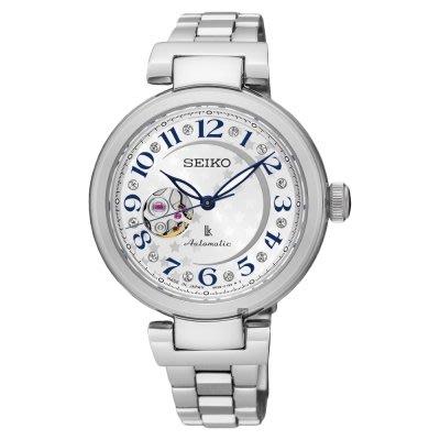 可議價.「1958 鐘錶城」SEIKO精工錶 LUKIA 鏤空機械 女錶(SSA829J1)-銀/34mm