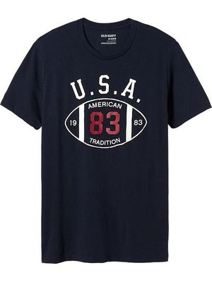 【BJ.GO】 Old Navy_男裝_Men's Team-Style Graphic Tees 經典USA圓領T恤 2014 官網新品現貨M號