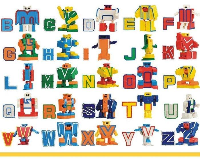 【W・先生】拼裝ABC字母/英文字母機器人/英文變形機器人