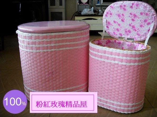 粉紅玫瑰精品屋~廠家直銷田園坐椅收納箱藤編坐箱儲物箱實木坐椅~大
