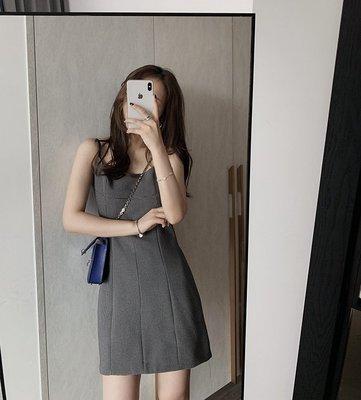My fit guys 簡約 時尚 復古 吊帶裙 格子格紋 連身裙 法式 短裙 內搭裙 灰 預購