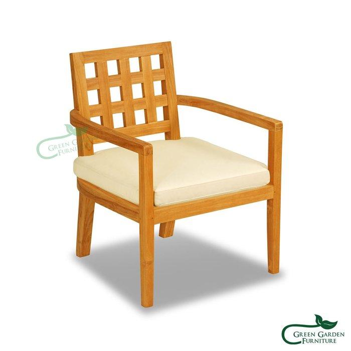 莫內 柚木沙發椅(含墊)【大綠地家具】100%印尼柚木實木/原色柚木/書房椅/餐椅/化妝椅/絕版出清/室內戶外兩用