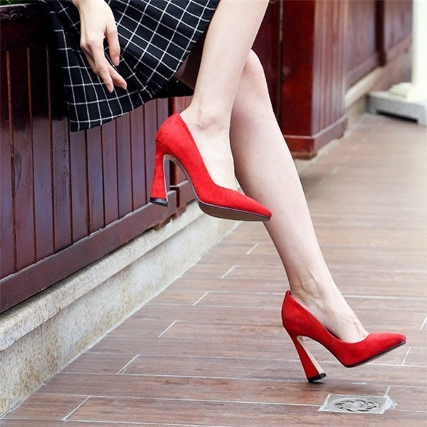 [現貨] 正紅色 *手工鞋* 全真皮/全羊皮 高跟鞋婚鞋 尖頭酒杯跟粗跟中跟單鞋 性感跟鞋- 39碼