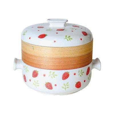 【居家新品】斯銳爾日式手繪蒸汽鍋蒸籠砂鍋湯鍋燉鍋蒸鍋竹制多層陶瓷家用小型