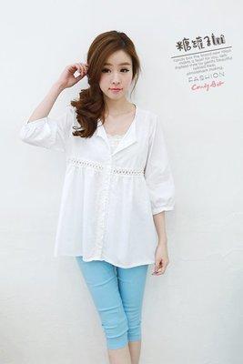 零碼出清現金價_品名: 鏤空蕾絲棉麻衫(單色白色) J-10990